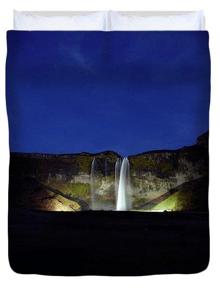 Night Shot Of Seljalandsfoss Duvet Cover