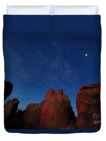 Duvet Cover featuring the photograph Night Sky City Of Rocks by Martin Konopacki