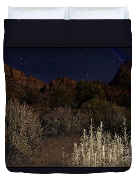 Night Sky Over Zion II Duvet Cover