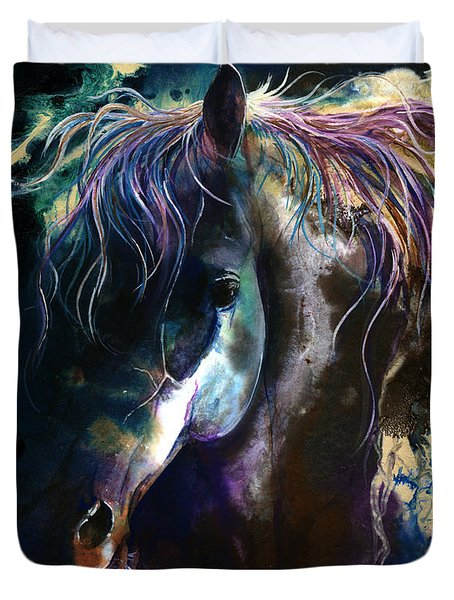 Duvet Cover featuring the painting Night Stallion by Sherry Shipley