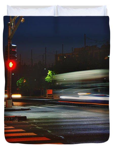 Night Streaks Duvet Cover by Joann Vitali