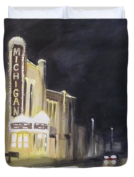 Night Time At Michigan Theater - Ann Arbor Mi Duvet Cover