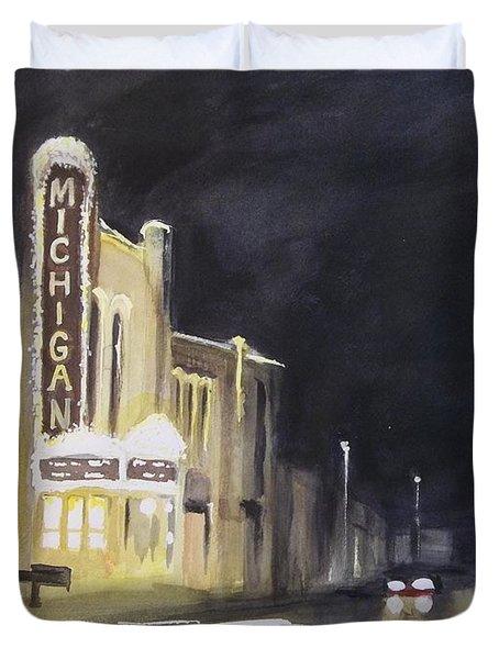 Night Time At Michigan Theater - Ann Arbor Mi Duvet Cover by Yoshiko Mishina