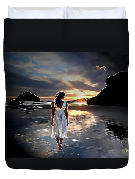 Night Time  Stroll Duvet Cover by Julie Grace