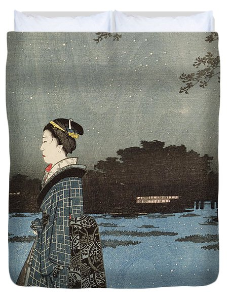 Night View Of Sanya Canal And Matsuchi Hill Duvet Cover