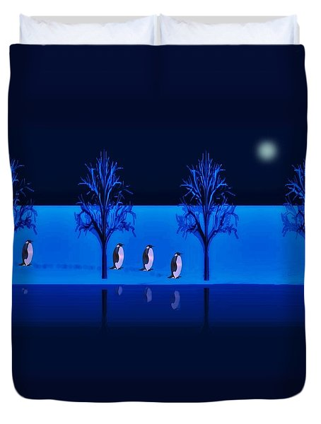 Night Walk Of The Penguins Duvet Cover by David Dehner