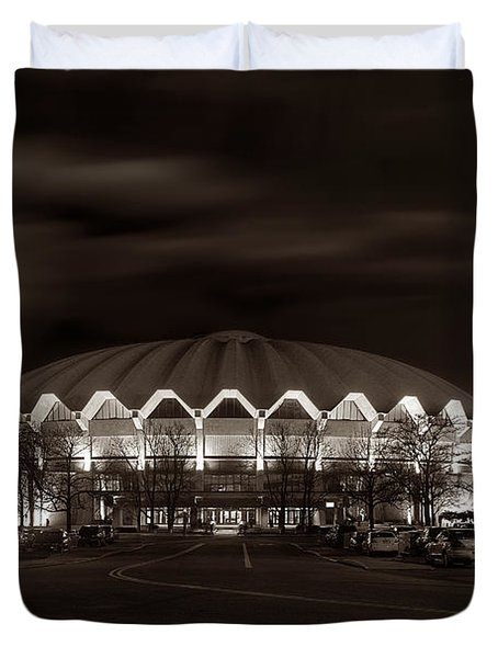night WVU Coliseum basketball arena Duvet Cover