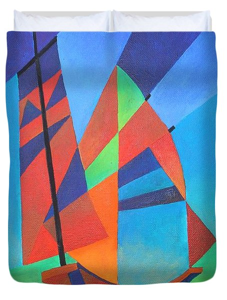 Duvet Cover featuring the painting Nightboat by Tracey Harrington-Simpson