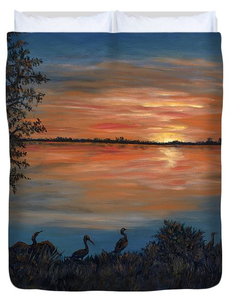 Duvet Cover featuring the painting Nightfall At Loxahatchee by Karen Zuk Rosenblatt