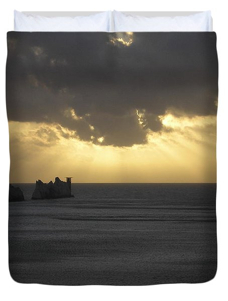 Nightfall At The Needles Point In The Isle Of Wight Duvet Cover
