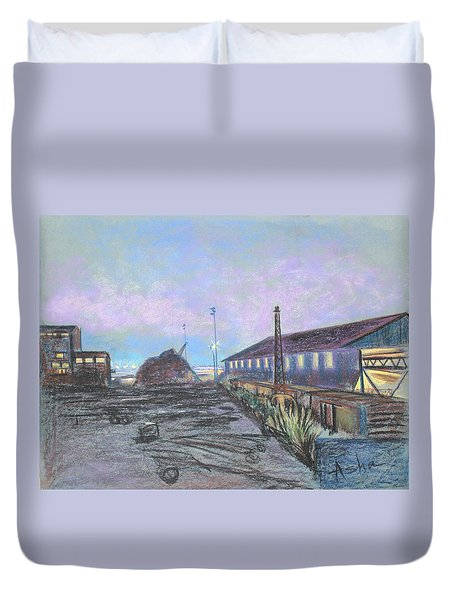 Duvet Cover featuring the painting Nightfall On The Metal Mountain At Schnitzer Steel by Asha Carolyn Young