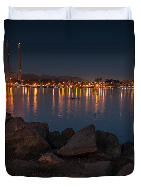 Nightime At Morro Bay Duvet Cover