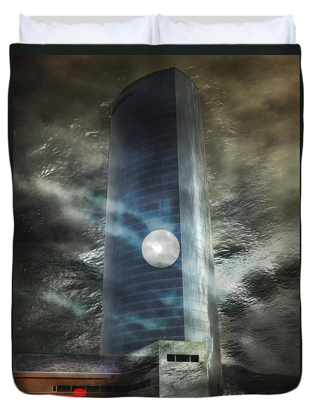 Duvet Cover featuring the digital art Nightmare Tower by Rosa Cobos