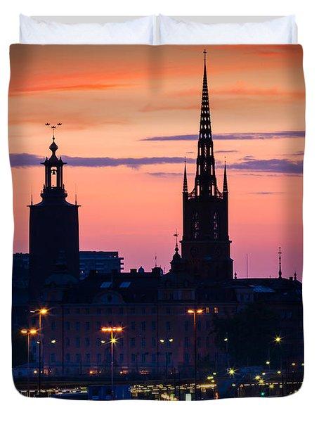 Nightsky Over Stockholm Duvet Cover by Inge Johnsson