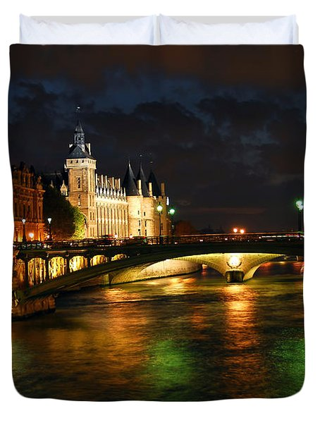 Nighttime Paris Duvet Cover by Elena Elisseeva