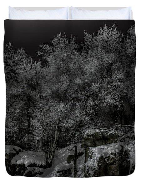 Nighttime Snow Flocked Trees Duvet Cover