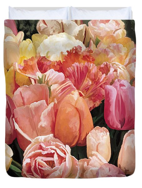 Duvet Cover featuring the painting Nikki's Tulips by Tim Gilliland