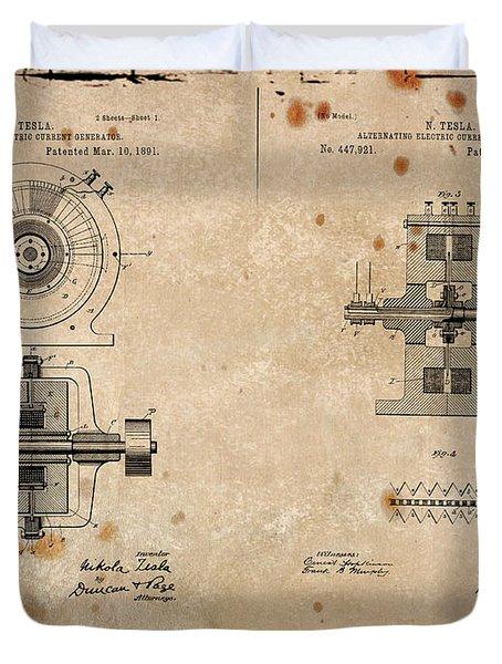 Nikola Tesla's Alternating Current Generator Patent 1891 Duvet Cover