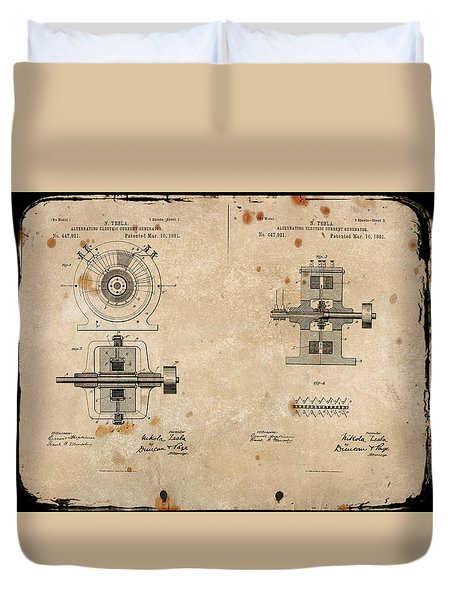 Nikola Tesla's Alternating Current Generator Patent 1891 Duvet Cover