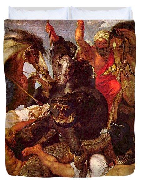 Nilpferdjagd Duvet Cover by Peter Paul Rubens