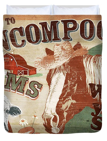 Duvet Cover featuring the painting Nincompoop Farms by JQ Licensing