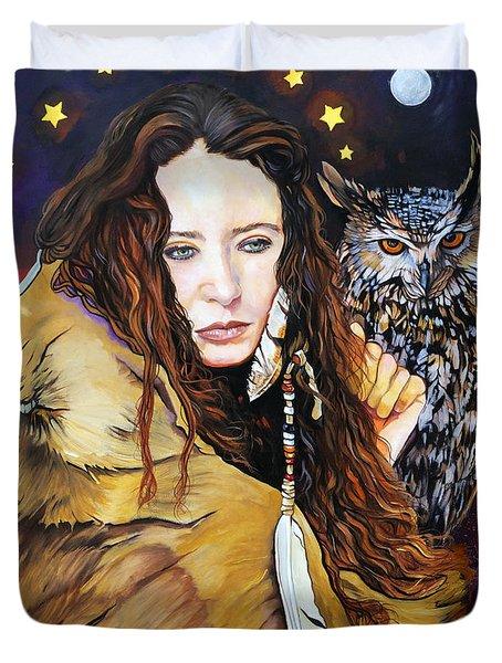 Nine Stars Woman / Owl Medicine Duvet Cover by J W Baker