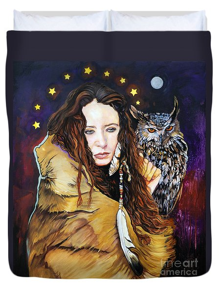 Nine Stars Woman / Owl Medicine Duvet Cover