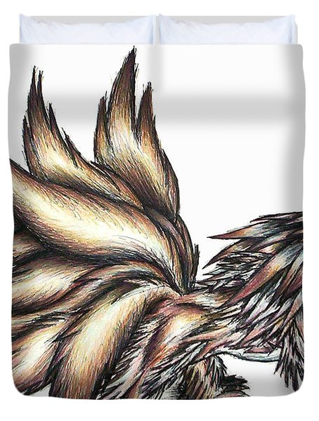 Duvet Cover featuring the painting Nine Tails Wolf Demon by Shawn Dall