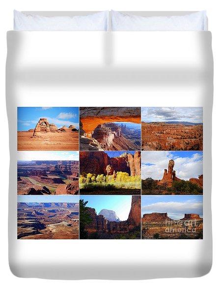 Nine Utah Landmarks Duvet Cover by Catherine Sherman