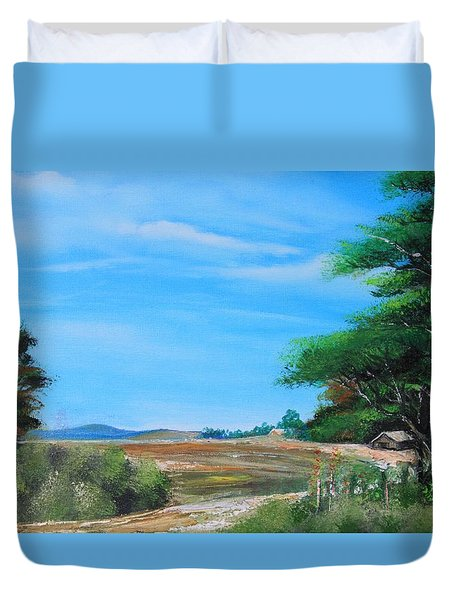 Nipa Hut In The Barrio Duvet Cover