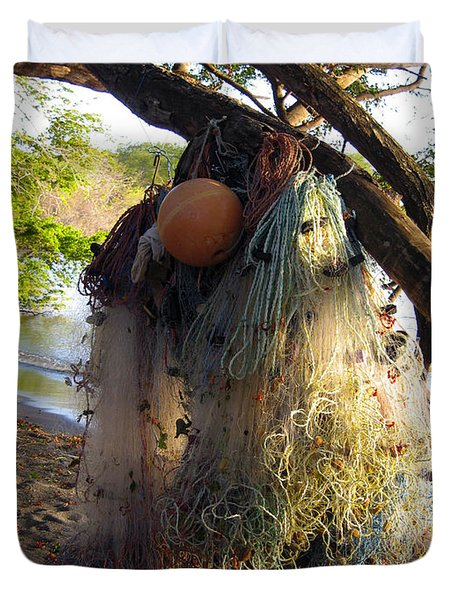 No Fishing Today Ometepe Island Nicaragua Duvet Cover by Kurt Van Wagner