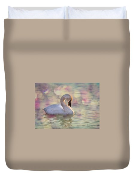 Duvet Cover featuring the photograph Shy Swan by Patti Deters