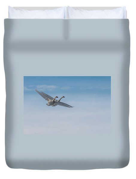 Duvet Cover featuring the photograph Trumpeter Swan Tandem Flight I by Patti Deters