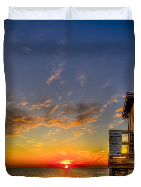 No Life Guard On Duty Duvet Cover by Marvin Spates