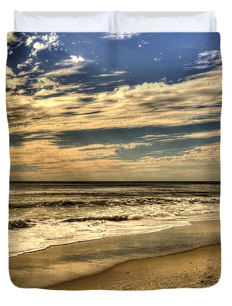 Duvet Cover featuring the photograph No More Surfing Today by Julis Simo
