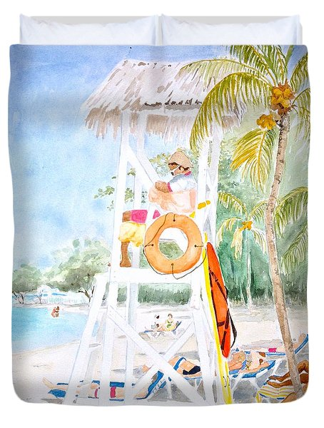 Duvet Cover featuring the painting No Problem In Jamaica Mon by Marilyn Zalatan