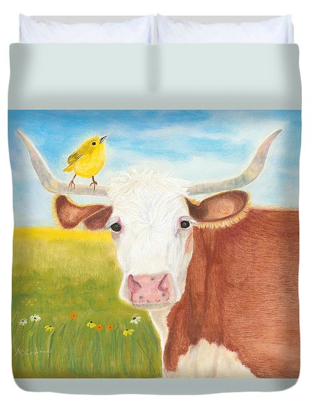 Duvet Cover featuring the painting No Tree Necessary by Arlene Crafton