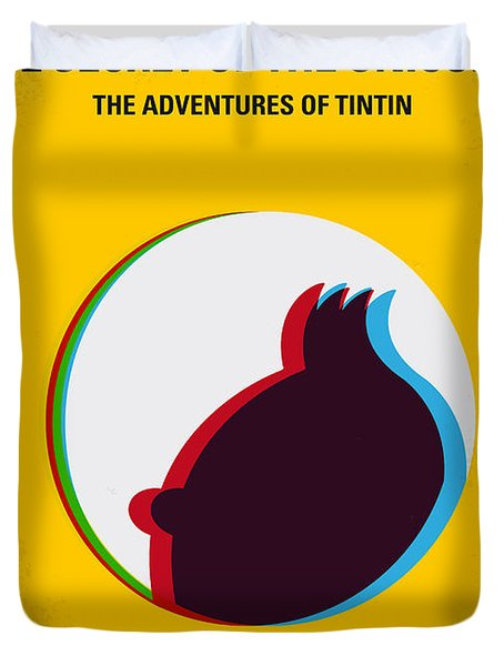 No096 My Tintin-3d Minimal Movie Poster Duvet Cover by Chungkong Art