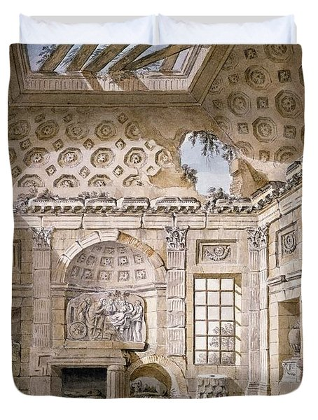 Monastery Of St Trinita Del Monte Duvet Cover by Charles Louis Clerisseau