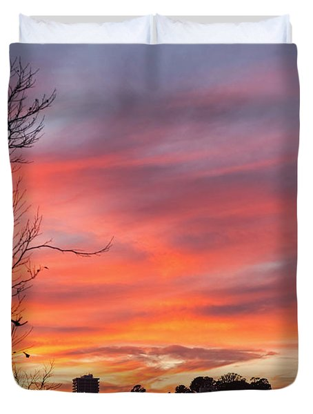 Duvet Cover featuring the photograph Nob Hill Sunset by Kate Brown