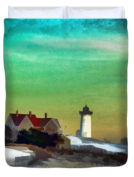 Nobska Lighhouse In Winter Duvet Cover