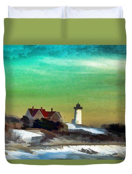 Nobska Lighhouse In Winter Duvet Cover
