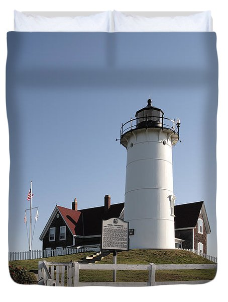 Nobska Lighthouse On Cape Cod At Woods Hole Massachusetts Duvet Cover