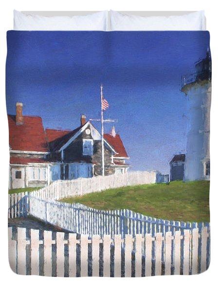 Nobska Point Lighthouse Duvet Cover by Jean-Pierre Ducondi