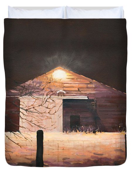 Nocturnal Barn Duvet Cover by Rebecca Matthews