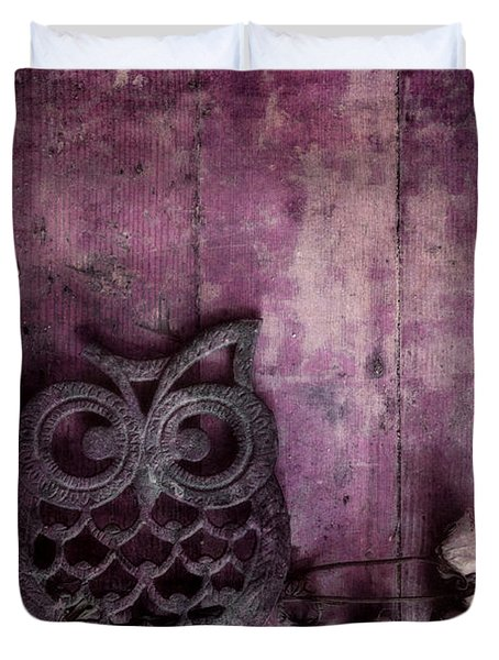 Nocturnal In Pink Duvet Cover by Priska Wettstein