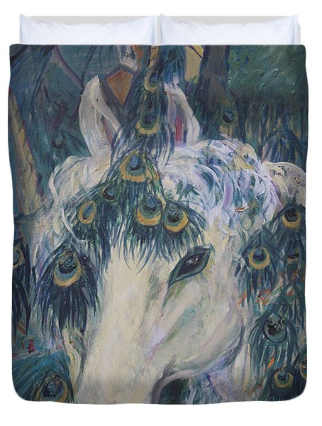 Duvet Cover featuring the painting Nola's Unicorn by Avonelle Kelsey