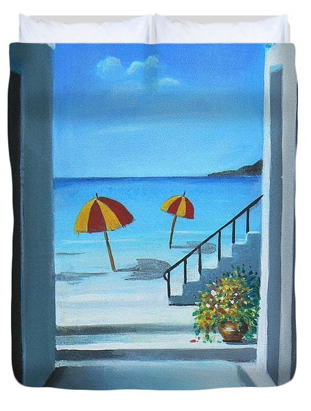 Noon At The Beach Duvet Cover