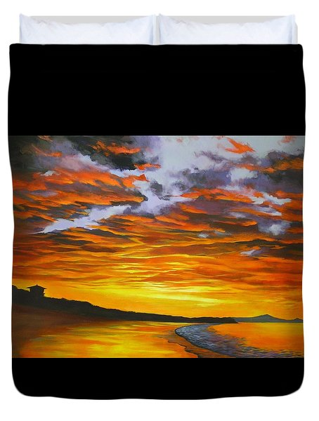 Noosa Sunset Duvet Cover by Chris Hobel