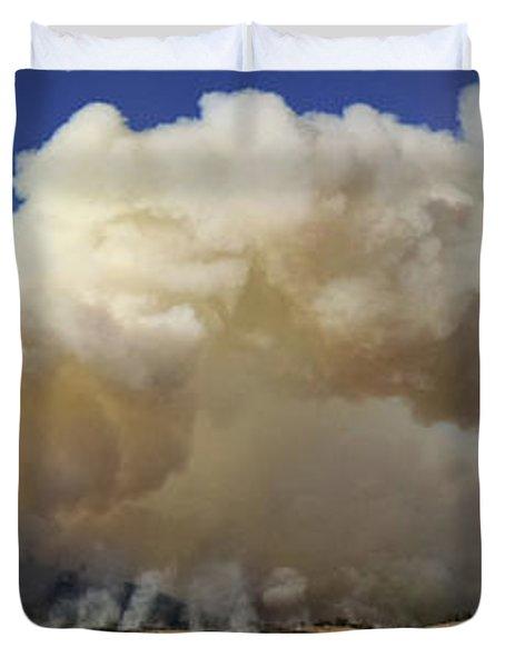 Norbeck Prescribed Fire Smoke Column Duvet Cover by Bill Gabbert